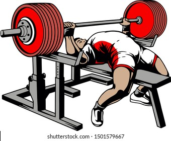 bench press bodybuilding powerlifting weightlifting vector illustration