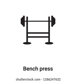 Bench press icon vector isolated on white background, logo concept of Bench press sign on transparent background, filled black symbol