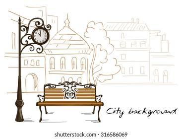 bench, street clocks, background line drawing city. vector illustration