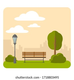 Bench and streetlight in the park. Vector illustration of a beautiful summer city park with town building background.