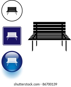 bench symbol sign and button