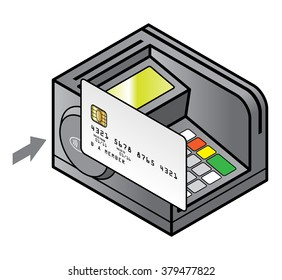 A bench top point of sale pin pad / terminal with a card against the contact-less sensor.  Electronic card payment concept.