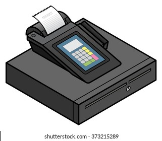 A bench top touchscreen point of sale terminal. With an integrated card swipe scanner and printer. On top of a cash drawer.