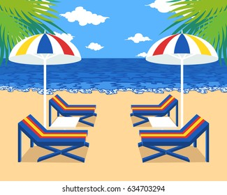 bench and umbrella on the beach background