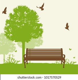 Bench under a green tree in the park. Vector illustration