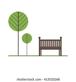 Bench under a tree in the park. Modern flat design concepts for web banners, web sites, printed materials, infographics, games. Flat style vector illustration.