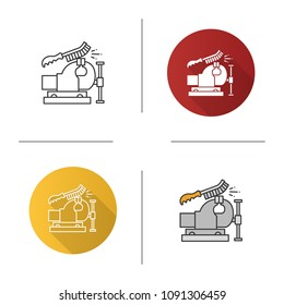 Bench vice cleaning with wire brush icon. Leg vice. Flat design, linear and color styles. Isolated vector illustrations