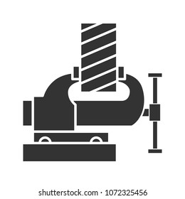 Bench vice fixing wooden plank glyph icon. Silhouette symbol. Negative space. Vector isolated illustration