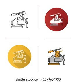 Bench vice fixing wooden plank icon. Leg vice and metal file. Flat design, linear and color styles. Isolated vector illustrations