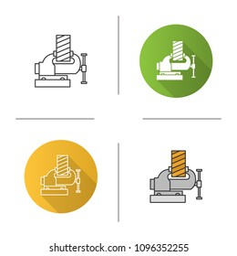 Bench vice fixing wooden plank icon. Leg vice. Flat design, linear and color styles. Isolated vector illustrations