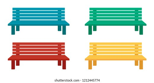 Benches for home and garden. Vector flat illustration. Set, collection. Wooden seats of different colors.