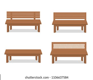 Benches set. Outdoor wooden benches. Vector illustration of a beautiful summer city park with urban background design.For relaxation.