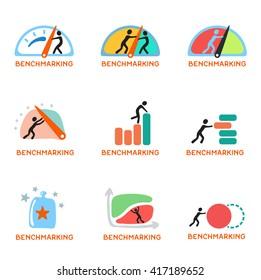 Benchmarking concept logo, vector icon set