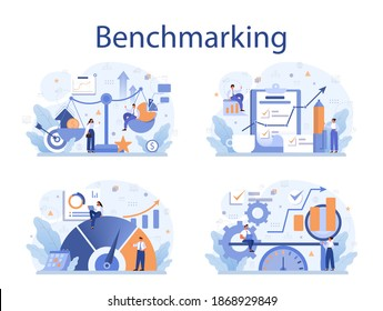 Benchmarking concept set. Idea of business development and improvement. Compare quality with competitor companies. Isolated flat vector illustration