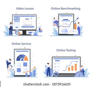 Benchmarking online service or platform set. Idea of business development and improvement. Compare with competitors. Online testing, benchmarking, video lesson. Isolated flat vector illustration