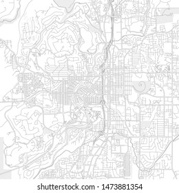 Bend, Oregon, USA, bright outlined vector map with bigger and minor roads and steets created for infographic backgrounds.