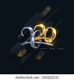 Bended numbers 2020. Holiday vector illustration. Golden and silver characters. Modern 3d calligraphy on black papercut background with glitters. Happy New 2020 Year. Festive banner or sign design.