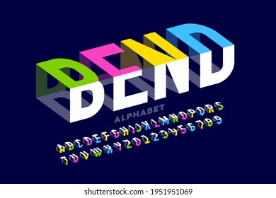 Bending 3D style font design, typography design, alphabet letters and numbers vector illustration