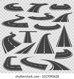 Bending roads and high ways. Road curves geometric design, street intersection, connecting major towns or cities. Vector flat style cartoon roads illustration