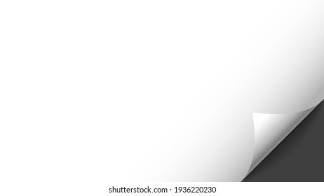 Bending white blank paper corner. Horizontal vector template for a text