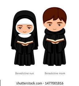 Benedictine monk and nun, holding a bible in their hands. Catholics. Religious man and woman. Cartoon character. Vector illustration.