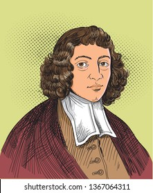 Benedictus de Spinoza (1632 –1677) portrait in line art. He was a social and metaphysical philosopher famous for the elaborate development of his monist philosophy, which has become known as Spinozism