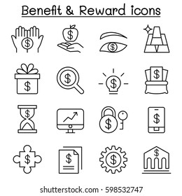 Benefit ,Reward, Stock money, icon set in thin line style