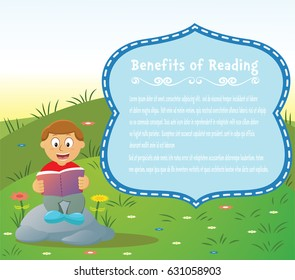 Benefits of reading. Cartoon illustration of a boy siting on rock while reading book with natural background and text border for reading campaign.