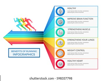 Benefits of running infographics. Healthy lifestyle concept. Infographics Template Vector Illustration