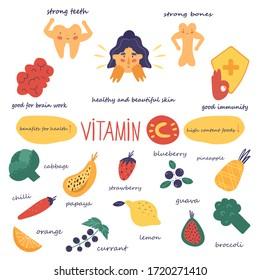 Benefits of Vitamin C. Foods high in vitamin C. Vector illustration.