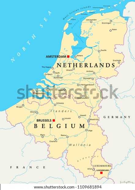 Map Of Germany Luxembourg Belgium.Benelux Belgium Netherlands Luxembourg Political Map Stock Vector