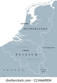 Benelux countries, gray colored political map. Belgium, Netherlands and Luxembourg. Benelux Union, a geographic, economic and cultural group. English labeling. Illustration on white background. Vector