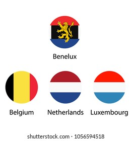 Benelux Union, Luxembourg, Netherlands and Belgium round flags