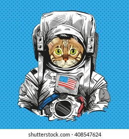 Bengal cat in astronaut suit. Hand drawn vector illustration
