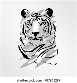 Bengal Cat Head tiger isolated on white. Predator rare animal with black stripes typical of Bengal tiger, but carries a white or near-white coat. Endangered wildlife mammal vector illustration
