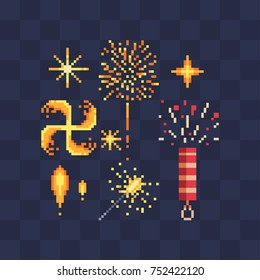 Bengal fire and fireworks icons. Design of a congratulatory holiday card. Vector icon set. Pixel art style. Isolated illustration