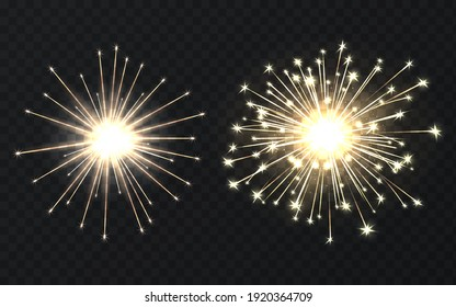 Bengal fire. Magical holiday light of sparklers. Vector illustration of realistic beautiful burning sparks Bengal fire isolated on a transparent background. Golden festival party decorations.