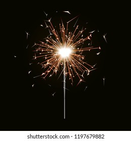 Bengal fire. New year sparkler candle isolated on black background. Realistic vector light effect. Party backdrop. Sparkler vector firework. Magic light. Winter Xmas decoration illustration.