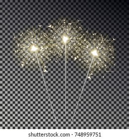 Bengal fire set. New year sparkler candle collection isolated on transparent background. Realistic vector light effect. Party backdrop. Winter Xmas  illustration.