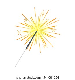 Bengal or indian light sparkler, Bengal fire firework isolated on white. Salute element for celebration of holidays and parties, weddings and birthdays. Bright sparks used for entertainment purposes.