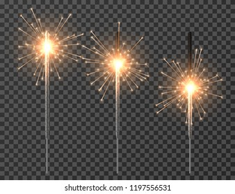 Bengal light. Christmas sparkler lights, diwali firework candle. Realistic bengal party lights vector set. Bengal and sparkler, firework and sparkle, glow burning illuminated illustration