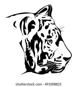 Bengal tiger head. Black and white vector image. Tattoo