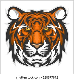 Bengal Tiger. Vector illustration of a tiger head on a white background