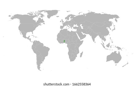 Benin african country highlighted on world map. Gray background. Perfect for business concepts, backgrounds, backdrop, poster, chart, banner, label, sticker and wallpapers.