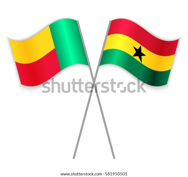 Beninese and Ghanaian crossed flags. Benin combined with Ghana isolated on white. Language learning, international business or travel concept.