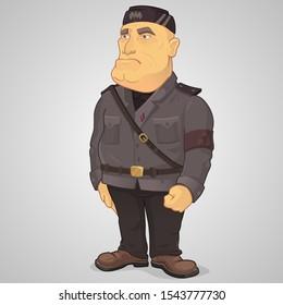 Benito Amilcare Andrea Mussolini italian dictator in cartoon style