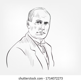 Benito Mussolini famous italian politician and journalist vector sketch portrait