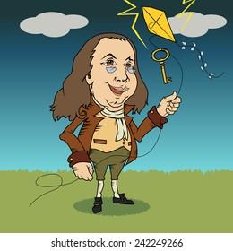 Benjamin Franklin, cartoon vector illustration