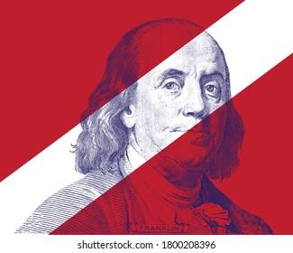 Benjamin Franklin Face on white stripe