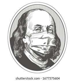 Benjamin Franklin in a mask. 18.03.2020 Moscow Russia